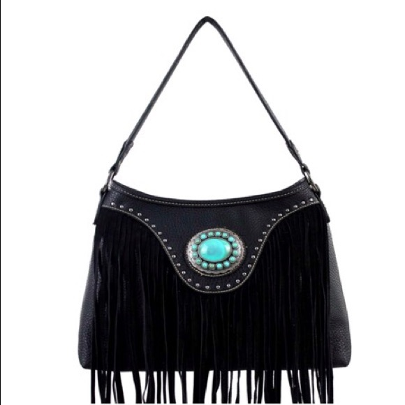 42a7a04d1fe2b Montana West Bags | Leather Turquoise Silver Fringe Bag | Poshmark